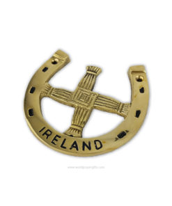 Lucky Horseshoe - Irish St. Brigid's Cross - Solid Brass Wall Plaque - World Prayer Gifts