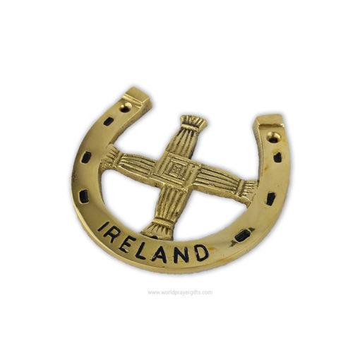 Lucky Horseshoe - Irish St. Brigid's Cross - Solid Brass Wall Plaque - World Prayer Gifts
