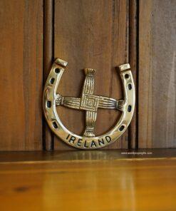 St. Brigid's Cross Brass Horseshoe Plaque