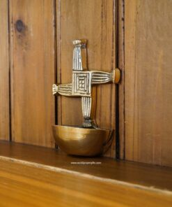St Brigid's Cross Holy Water Font | Solid Brass | World Prayer Gifts